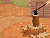picture of log cabin  - Cropped Illustration of a Person Chopping Logs Outside a Log Cabin - JPG
