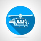 stock photo of helicopter  - Circle flat blue vector icon with white silhouette rescue or ambulance helicopter - JPG