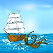 picture of kraken  - colored vintage sailing ship and kraken at sea - JPG