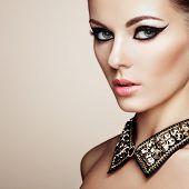 stock photo of diamond  - Portrait of beautiful sensual woman with elegant hairstyle - JPG
