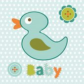 picture of baby duck  - Baby boy card with cute little duck toy - JPG