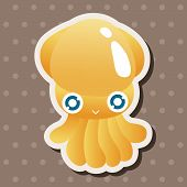foto of squid  - Sea Animal Squid Cartoon Theme Elements - JPG
