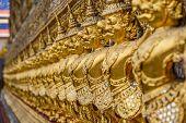 stock photo of garuda  - golden garuda in watphrakaew bangkok  - JPG