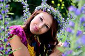 image of polite girl  - Beautiful girl from Poland with wreath made of flowers - JPG