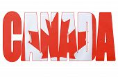 pic of canada maple leaf  - Photo of the Canadian maple leaf red and flag within outline cutout of the word Canada on white background - JPG