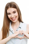 image of denim wear  - Portrait of a young beautiful girl with long brown hair wearing blue denim blouse - JPG