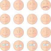 stock photo of sarcasm  - Vector illustration emoticon clipart with different cartoon faces in flat style vector illustration - JPG