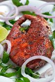 picture of plate fish food  - tasty fish fry in Indian style on plate - JPG