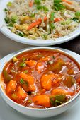 stock photo of curry chicken  - Fried rice with chicken curry ready to eat - JPG