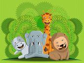 image of jungle animal  - illustration design of cute jungle animal group lion elephant and giraffe vector - JPG
