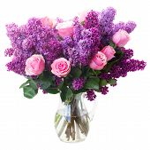 stock photo of bunch roses  - Bunch of purple Lilac flowers with pink roses in vase isolated on white background  - JPG