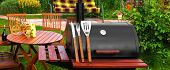 pic of bbq party  - Outdoor Summer Weekend BBQ Grill Party Or Family Lunch Or Cookot Food Or Picnic Concept - JPG