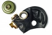 picture of rubber mask  - Disassembled black gas mask isolated over white background - JPG