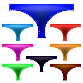pic of panties  - Set of Colorful Panties Isolated on White Background - JPG