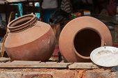 stock photo of karnataka  - Clay pots on the street market - JPG