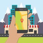 stock photo of gps navigation  - Flat design concept for mobile GPS navigation - JPG