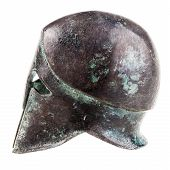 image of hoplite  - an ancient greek war helmet isolated over a white background - JPG