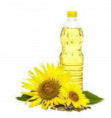 picture of sunflower  - Bottle of sunflower oil with sunflower isolated on white background - JPG