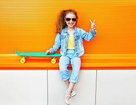 stock photo of skateboard  - Fashion kid - JPG