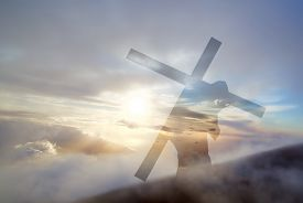 picture of calvary  - Christ carrying cross up Calvary on Good Friday over bright sky - JPG