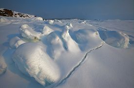 stock photo of murmansk  - Landscape made on seashore of White Sea in winter, Russia, Murmansk ** Note: Visible grain at 100%, best at smaller sizes - JPG
