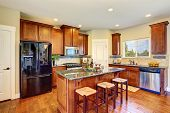 Luxury Kitchen Room With Modern Cabinets And Granite Counter Tops poster
