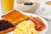 stock photo of scrambled eggs  - Breakfast with scrambled eggs - JPG