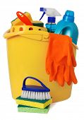 stock photo of house cleaning  - Bucket with cleaning supplies - JPG