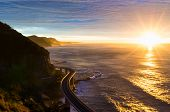 Sea Cliff Bridge Along Australian Pacific Ocean Coast On Sunrise poster