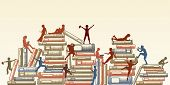 Editable vector illustration of children reading and clambering over piles of books