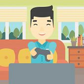 An asian happy gamer playing video game on the television. An excited young man with console in hand poster