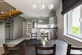 Постер, плакат: Functional Dining Area Open To Kitchen