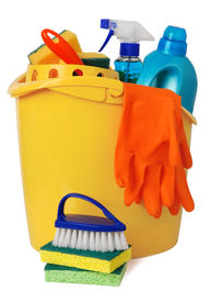 foto of house cleaning  - Bucket with cleaning supplies - JPG