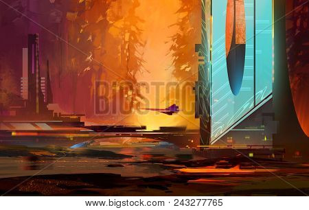 Concept Bright Evening Landscape Of