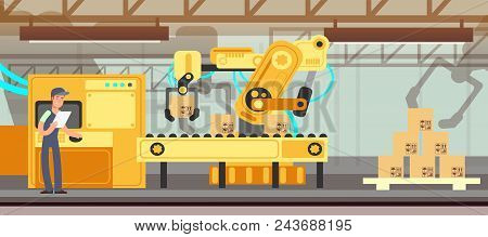 poster of Industrial Factory Conveyor With Production Packing Process Vector Concept. Factory Line Industry, I