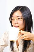 Chinese Businesswoman Drinking Coffee