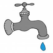 Gray Water Tap With A Drop Of Water. Vector Illustration Water Tap With A Drop. Hand Drawn Water Tap poster