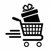Shopping Cart And Gift Box. High-speed Movement Of The Cart. Vector Illustration. poster