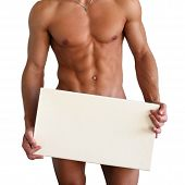 Naked Muscular Torso Covering Copy Space Box
