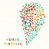 Colorful Music Festival Notes Background. Random Colored Musical Festival Poster Design Template. Ve poster