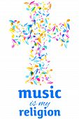 Colorful Music Event Notes Background. Random Colored Music Festival Poster Design Template. Vector  poster