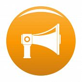 Single Megaphone Icon. Simple Illustration Of Single Megaphone Vector Icon For Any Design Orange poster