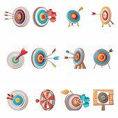 Target With Arrow Icons Set. Cartoon Illustration Of 12 Target With Arrow Vector Icons For Web poster
