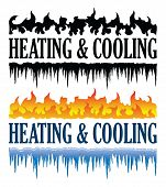Heating And Cooling Emblem Is An Illustration That Can Be Used For Heating And Cooling Or Hvac Compa poster