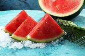 Watermelon On Blue Background. Juicy Summer Fruit In Slices poster