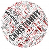 Conceptual christianity, jesus, bible, testament round circle red  word cloud isolated background. C poster