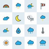 Climate Icons Colored Line Set With Cloudy Day, Percent, Frosty And Other Thunderstroke Elements. Is poster