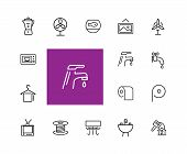 Home Icons. Set Of Line Icons. Electric Fan, Ironing, Battery. Domestic Life Concept. Vector Illustr poster
