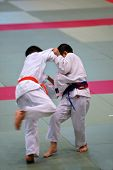image of shotokan  - The karate kids fighting for the competition - JPG