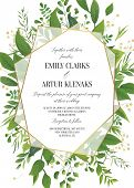 Wedding Invitation, Floral Vector Invite Save The Date Modern Card Design: Greenery Leaves, Forest G poster